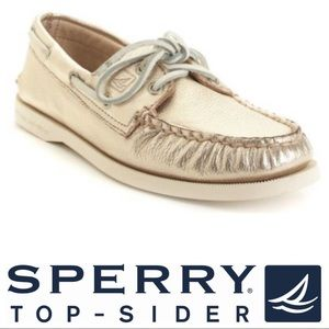 Sperry metallic gold top-sider shoes